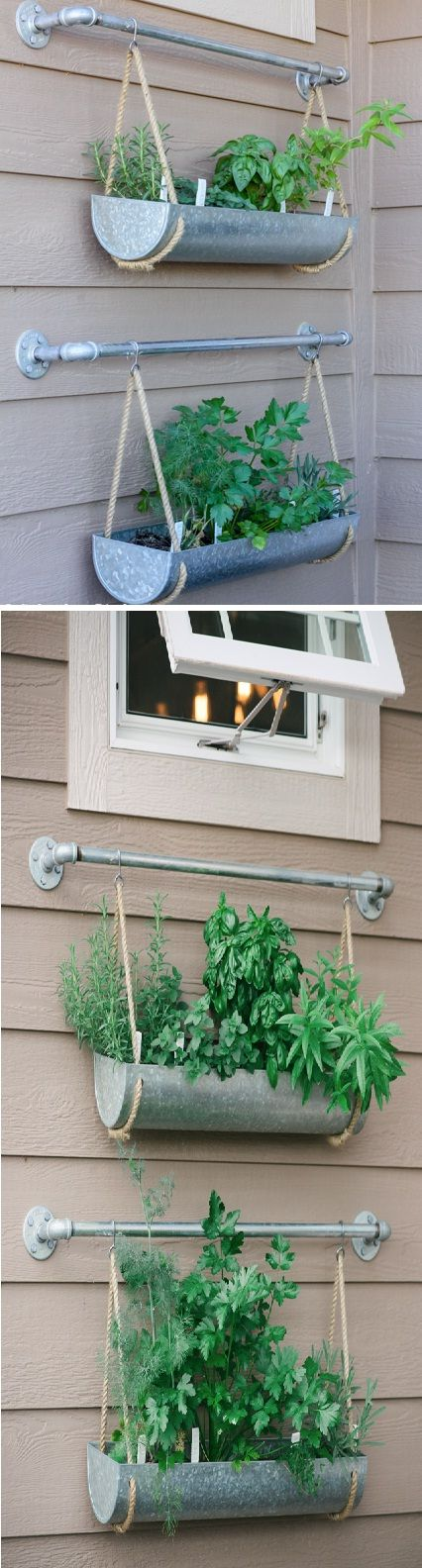 Herb Garden Using Galvanized Planters