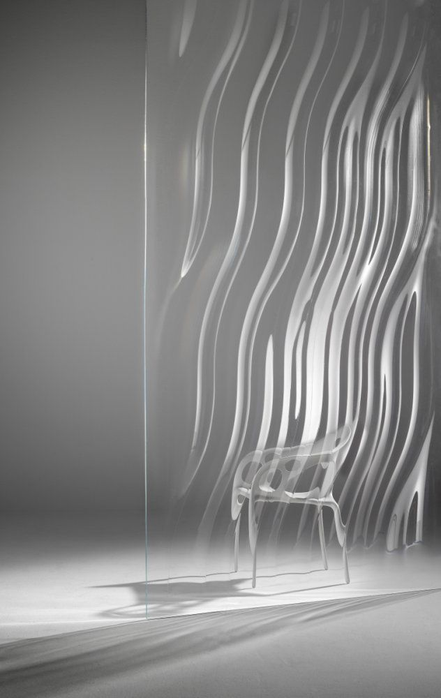 Liquidkristal glass wall by Ross Lovegrove