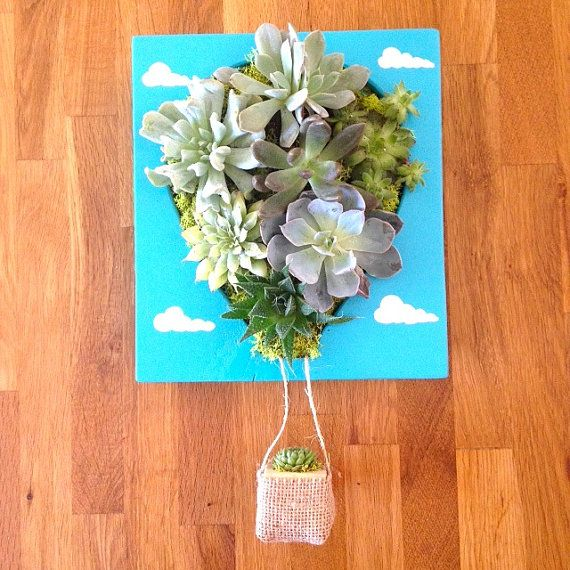 CUSTOM COLOR Hot Air Balloon Shaped Succulent by LoliviaGifts, $75.00 another wall planter box!