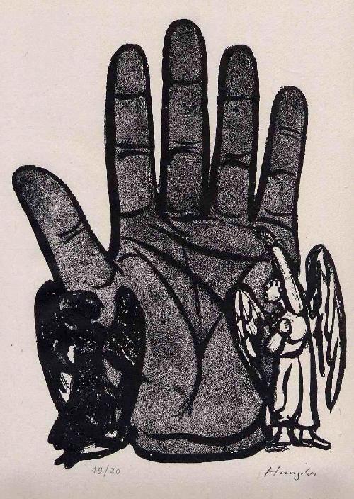 Hunziker,Max :  HANDENGEL & HANDTEUFEL - Handätzung des SCHWEIZER Surrealisten - handsigniert