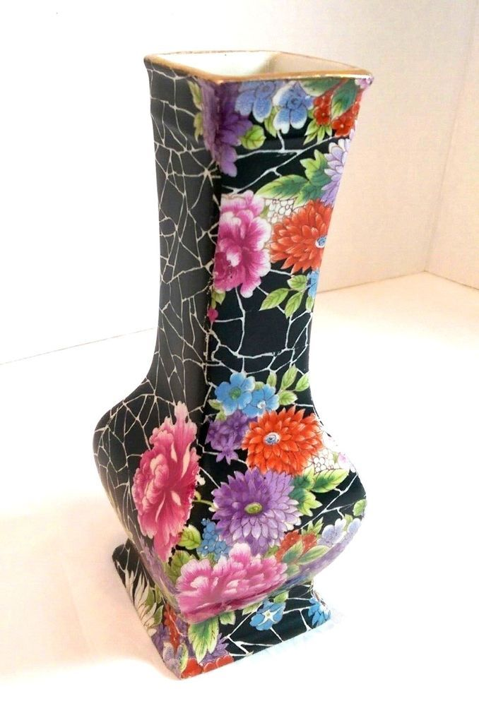 Shelley China Cloisonne Vase Black Chintz C1920 Art Deco England Antique Floral Shelley Ebay