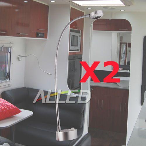 12V 2XFLEXIBLE LED Gooseneck Reading Lamp Cool White Caravan Trailer Book Light | eBay