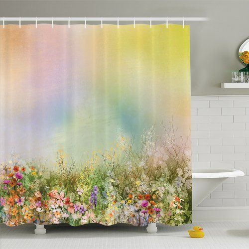 Found it at Wayfair - Watercolor Flower Home Cosmos Daisy Cornflower Wildflower Dandelion in Floral Meadow Scene Shower Curtain Set