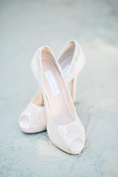 White bridal shoe idea - lace illusion peep-toe heels {Vanessa Velez Photography}