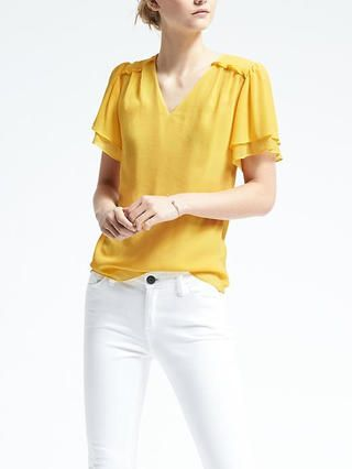 Easy Care Ruched-Yoke Top