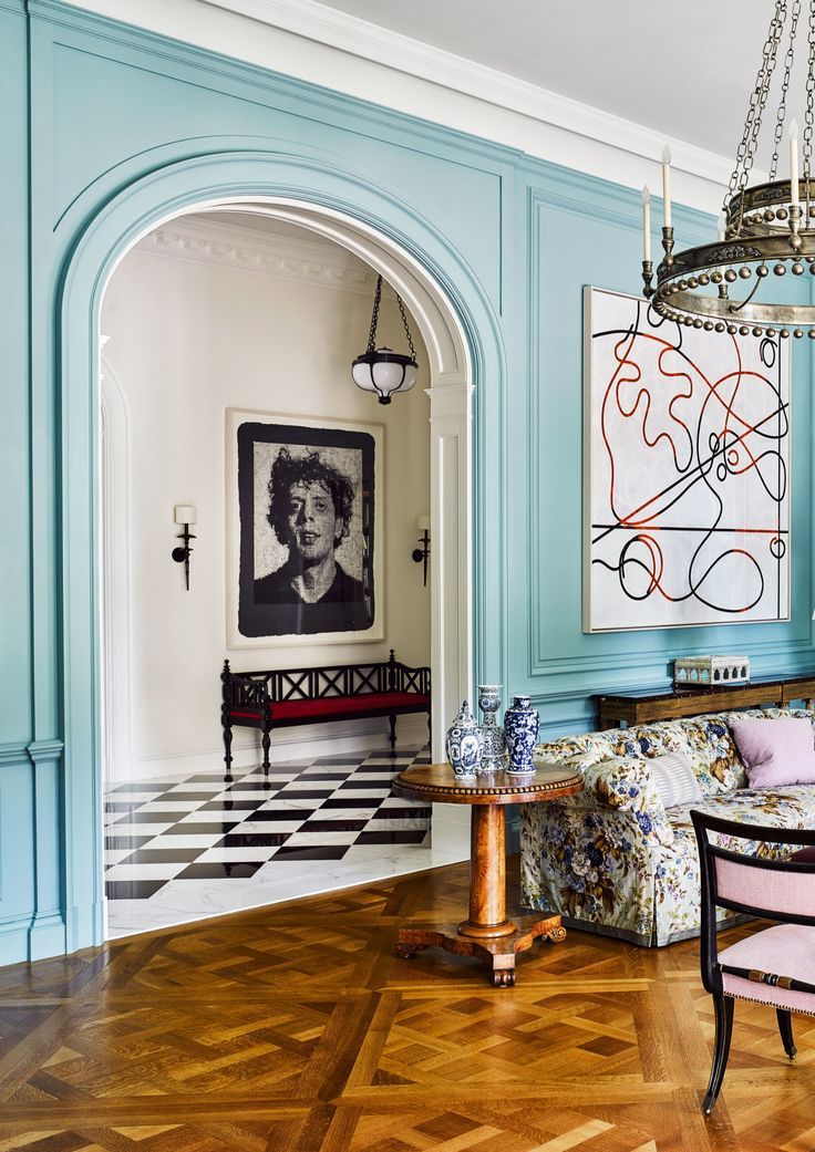 Famous Interior Designers New York Usa Insplosion In 2020 Eclectic Living Room Blue Interior Design Home