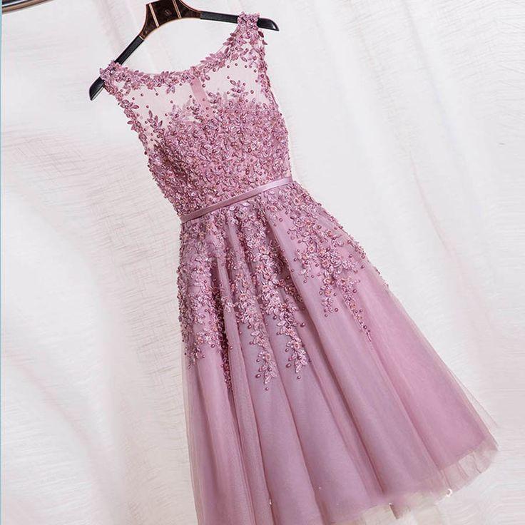 Pas cher 2016 Robe De Soirée Rouge Rose Bleu Perles Dentelle Fente Court Robes…