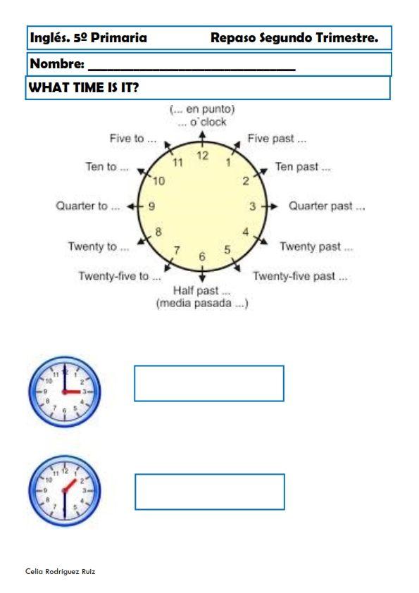 Recursos de inglés primaria Nuevas fichas de ejercicios para inglés primaria, en esta ocasión para niños y niñas de Quinto