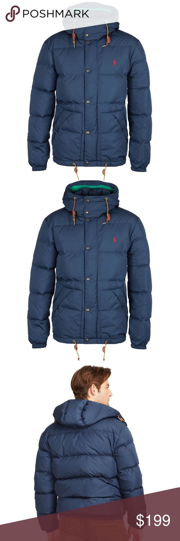POLO Ralph Lauren ELMWOOD PORTLAND DOWN JACKET M Polo Ralph Lauren Elmwood Down Jacket Orig. $345.00 COLOR: Portland Navy SIZE: M Great used condition.Light wear. No damage or flaws to be noted. Quality jacket.  Crafted from a water-repellent microfiber, this essential down-and-feather jacket features a convenient detachable hood and Ralph Lauren's signature pony embroidery. Detachable drawcord hood with an adjustable buckled tab at the back and a snapped throat tab Concealed full-zip…
