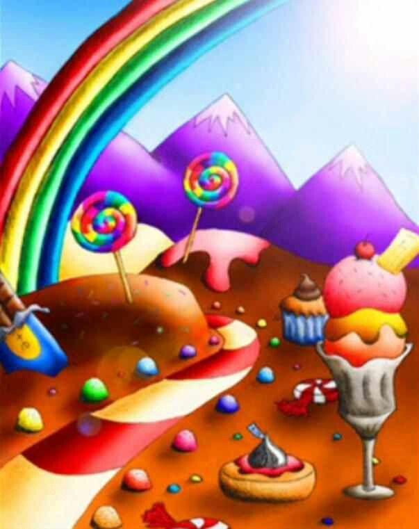 Cute Candyland Wallpaper Candy Landscape Sweets Art
