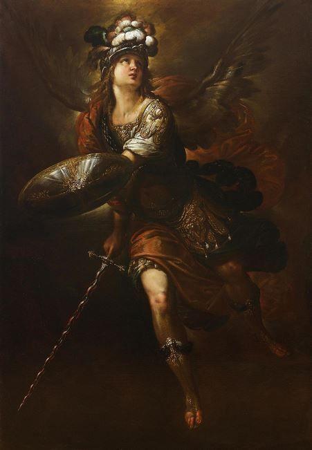 San Miguel Arcángel el Gobernador de los ejércitos del Cielo, obra del artista Ercole Procaccini il Giovane (Siglo 17).