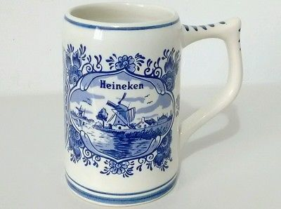 Heineken Hand Painted Ceramic Delft Blue Beer Mug Tankard Stein