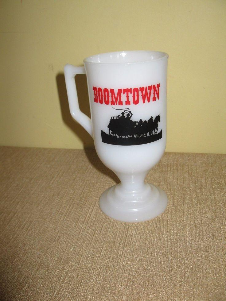 Boomtown Hotel Casino White Milk Glass Coffee Mug*nevada*pedestal*horsecowboy