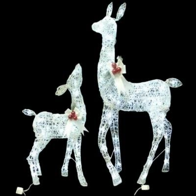 home depot 7999white grapevine deer with led lights set of 2 - Led Christmas Lights Home Depot
