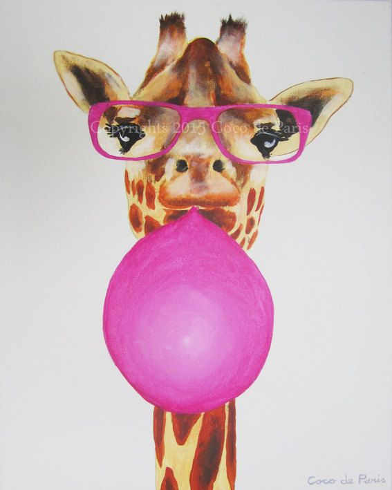 Giraffe Acrylic Painting on canvasOriginal & by CocktailZoo, Etsy