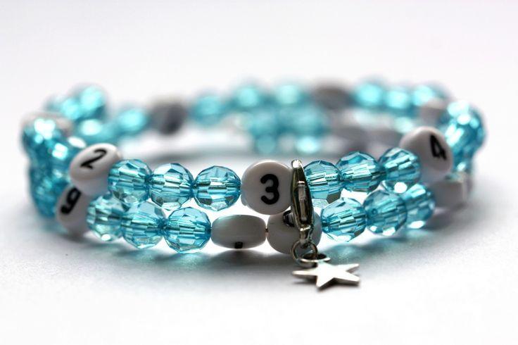 Bracelet d'allaitement avec perles en acrylique de couleur turquoise