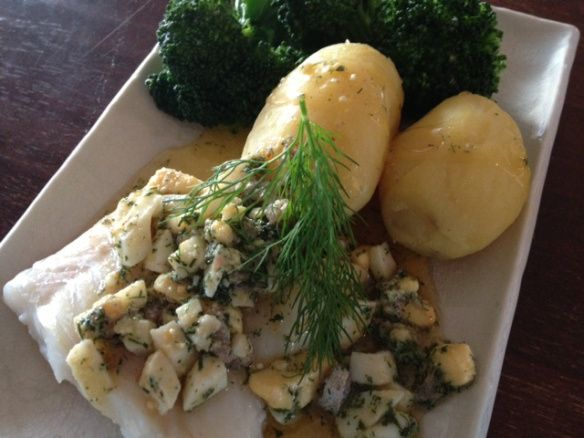 Cod from Öresund with new potatoes and gubbröra -a swedish speciality.