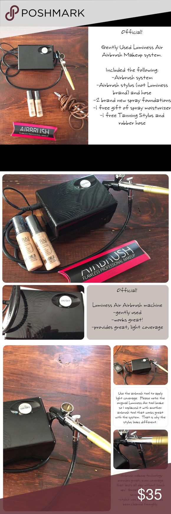 Luminess Air Makeup System Airbrush your Foundation with this slightly used Luminess Air Airbrush system.  It provides flawless coverage and feels like Air.  Easy to use and is blend-able.  Great for problematic skin without looking cake-y!  Great for oily skin as well! Luminess Air Makeup Brushes & Tools