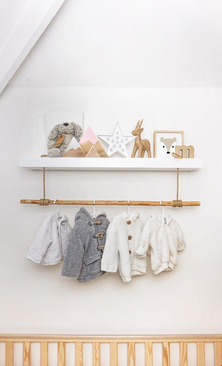 Hack Of A Standard White Floating Shelf To Add Clothes Rail For The New Nursery