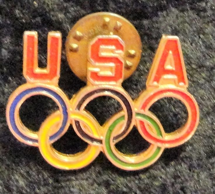 Team USA Olympic Circles Vintage Gold Tone Hat Lapel Tie Tack Pin Back Pin #USA