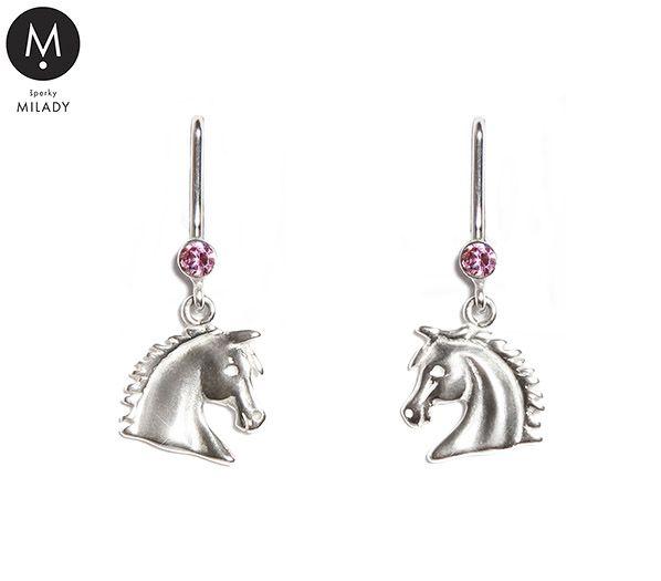 VŠECHNY ŠPERKY | Náušnice koně Vivian a přírodní kámen růženín - růžové | MILADY šperky, jezdecké a koně