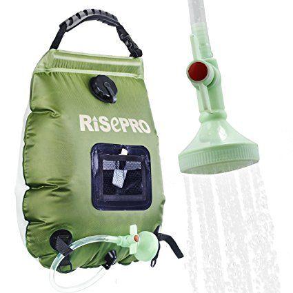 Doccia solare bag, Risepro® 5galloni/20l solare riscaldamento Premium campeggio doccia borsa dell' acqua calda con temperatura 45°C rimovibile flessibile on/off soffione doccia escursioni arrampicata Summer K8