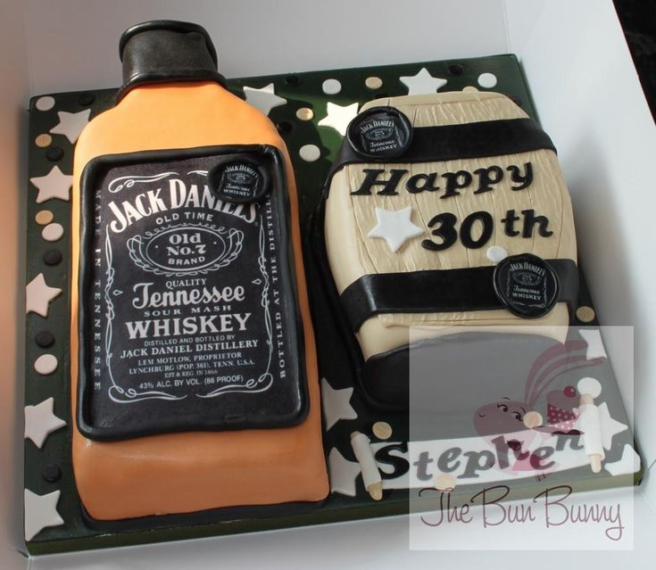 jack daniels birthday banner | 3d cake, shaped into a bottle and a barrell for a young man who ...