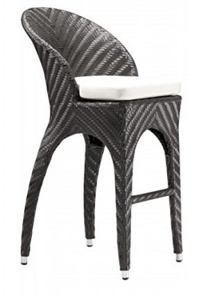Modern Outdoor Wicker Bar Stool Chair, Brown Aluminum Frame