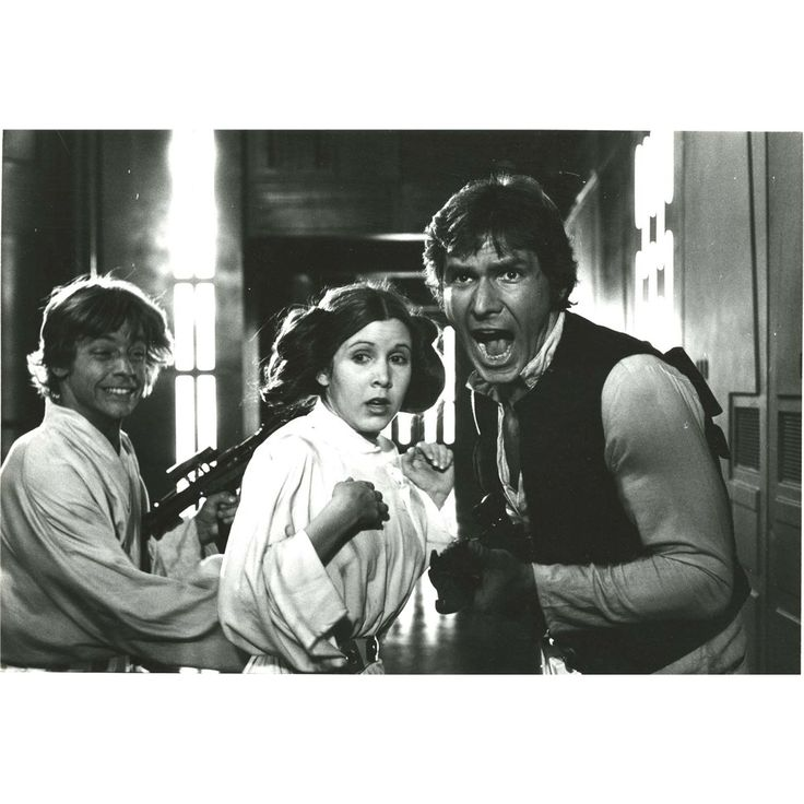 "Behind the scenes (Star Wars Episode IV ""A New Hope"") Mark looks like he's laughing, Carrie looks like she is scared to death and Harrison is yelling....too funny.:"