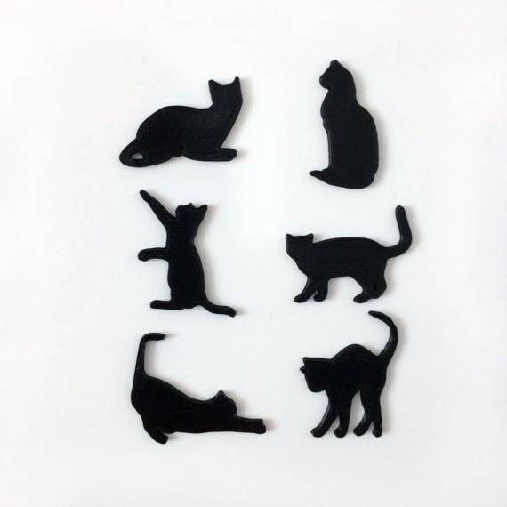 Magnetic Cats 2 Cool, original set of cat magnets. The set contains 6 cute cats.  The magnet itself is embedded into the plastic, so it would not scratch or damage your photos or fridge!