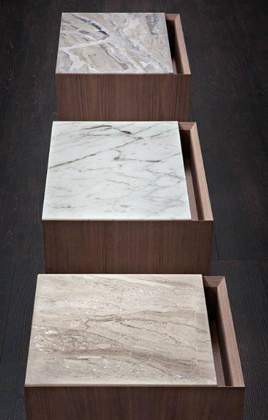 """The two-drawer night-stands """"Papier"""" by Matteo Nunziati for Flou with the structure in traditional or natural Canaletto walnut. Through the materials, the finishes and the care for details, the Papier series expresses an elegant and stylish lifestyle, exalted by the upper snelf available with three variations of marble: Gold Calacatta, Beige Corallo, Grey veined Orobico. #livingroom #bedroom #HomeDecor #BedroomDecor #BedroomFurniture #Furniture #interiordesign #comodino"""