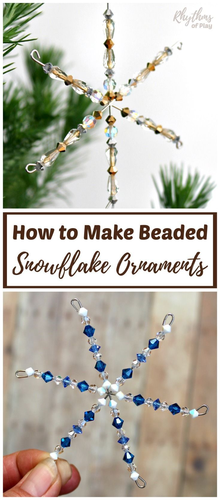 How To Make Beaded Snowflake Ornaments Video Tutorial Rop Beaded Snowflakes Beaded Snowflakes Ornament Easy Winter Crafts
