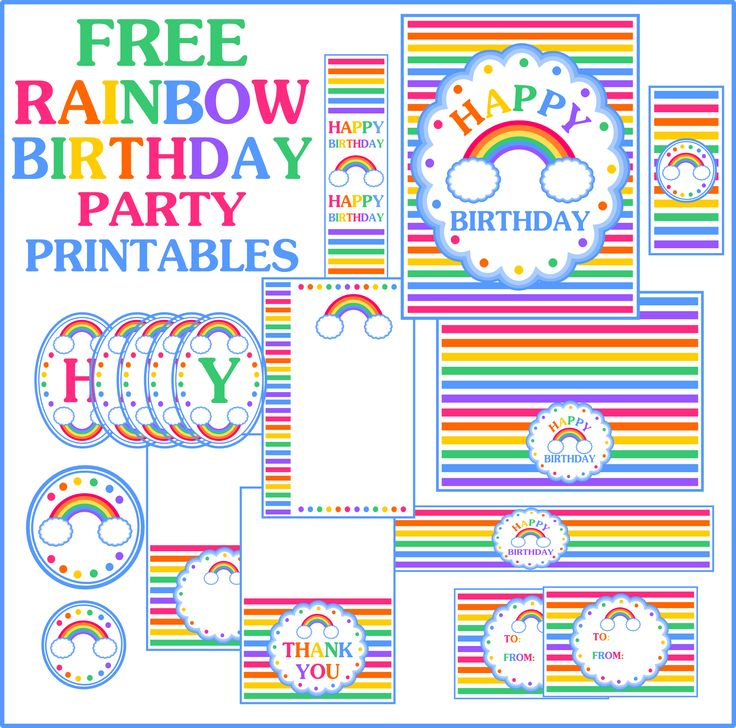 Rainbow Birthday Party Decorating Ideas | your party extra fun? Printabelle has a full rainbow birthday party ...