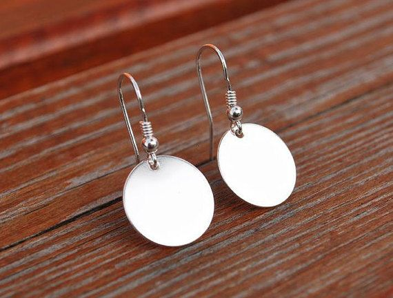 NEW  Beautiful SILVER DISK earrings sterling by euforioHandmade
