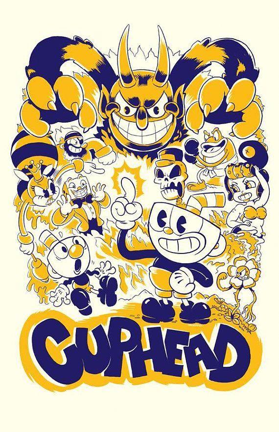 Cuphead Video Game Poster Retro Video Game Art Indie Game Art Boss Battle Retro Cartoon Poster Wall Art Afiches De Videojuegos Juegos De Arte Dibujos De Juegos