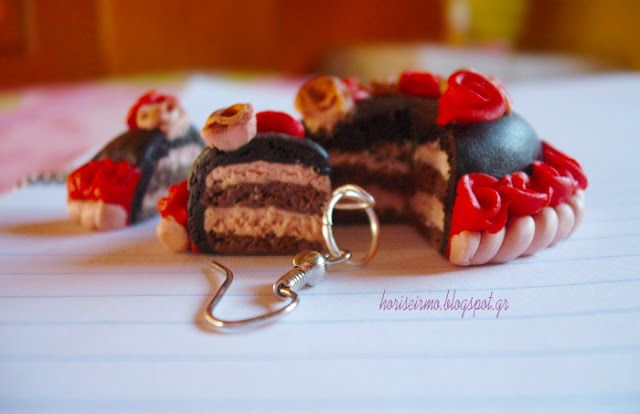 Πολυμερικός πηλός! Polymer clay cake pendant and earrings!
