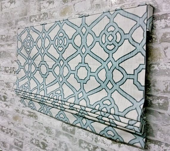 Custom Flat Roman Shade Window Treatment | P Kaufmann Pavilion Fretwork Tropical  Blue | Designer Quality