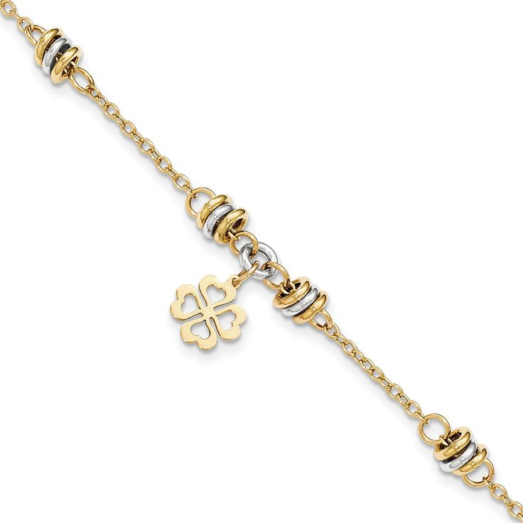 14k Two-tone Polished 7.5in Four Leaf Clover Bracelet