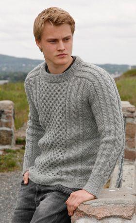 Strikket, grå herretrøje med snoninger - kan strikkes fra 13/14 år - XXXL