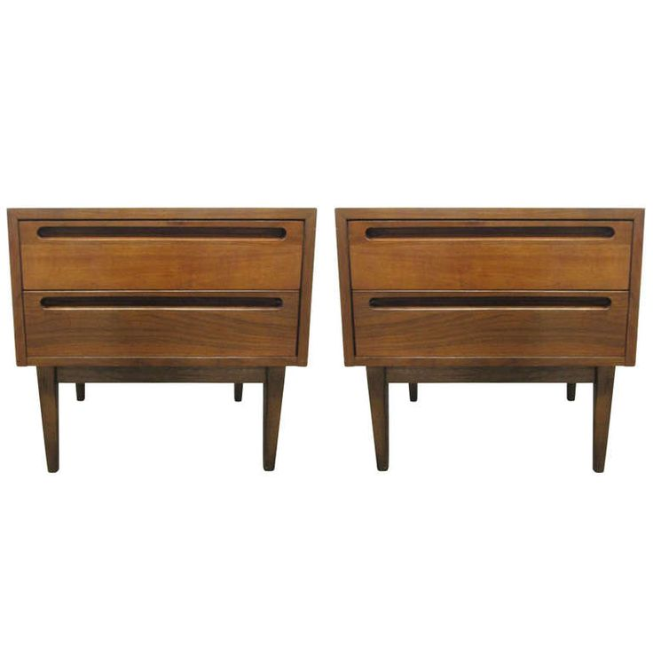 Pair 1960s Walnut Nightstands   1stdibs.com