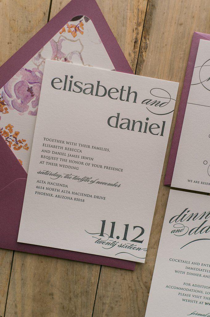 Grey and Burgundy Letterpress Floral Wedding Invitations