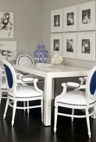bear hill interiors dining room / kitchen. modern sleek interior design. home decor. gray / grey. picture grouping.