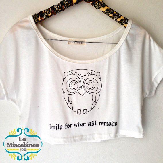 CROPTOP Owl! Búho! Smile for what still remains! sonrie por lo que aún queda! compra y entrega inmediata COLOMBIA! Whatsapp 3135724122