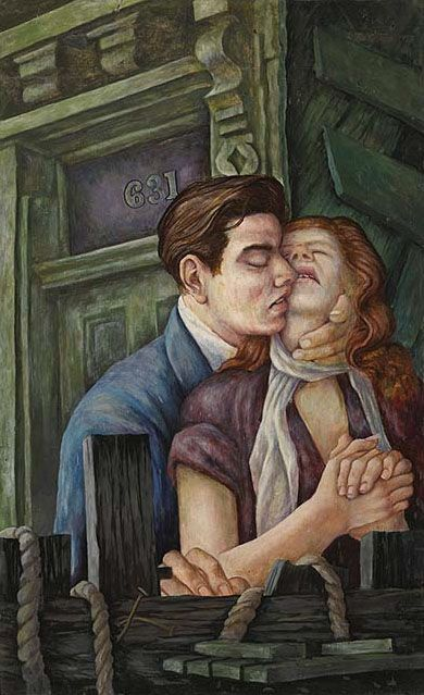 The Lovers, 1950 Fred Ross  Canadian, 1927 - 2014  tempera with oil glaze on masonite 89 x 54.6 cm Purchased 1994 National Gallery of Canada   #art #realism #portrait #Canadianart # NationalGalleryCanada