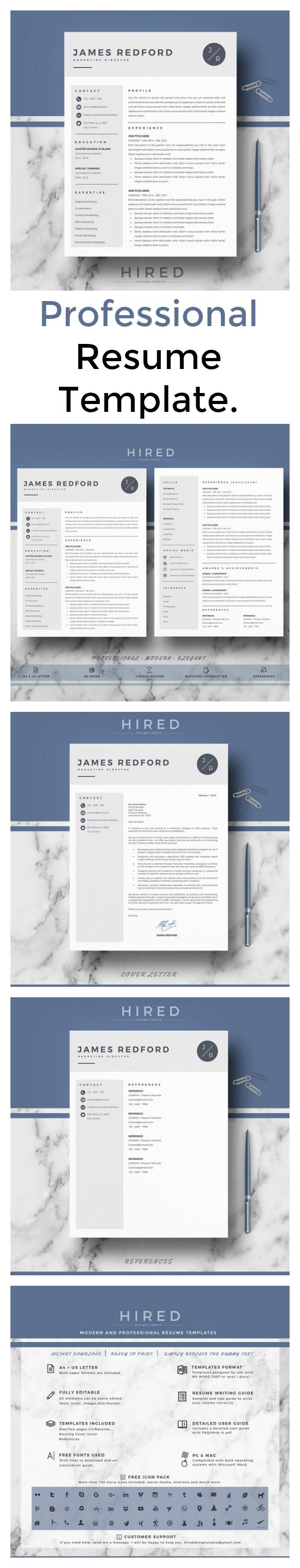 Love This Modern Resume Template Kit! Also Includes A Resume Writing Guide    Bonus!