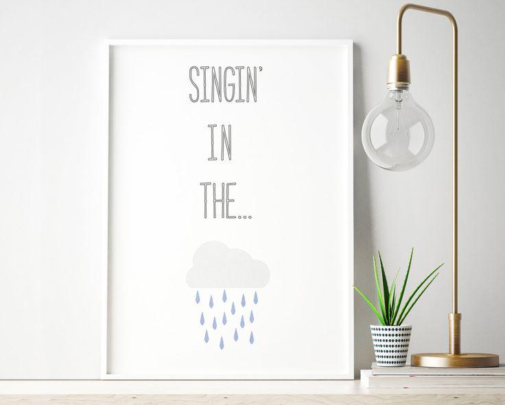 Singing in the Rain, Song Lyrics Print, Blue, Music Poster, Nursery Decor, A4 print, Retro Illustration, Home Decor, Instant Download by HeyPrestoPrints