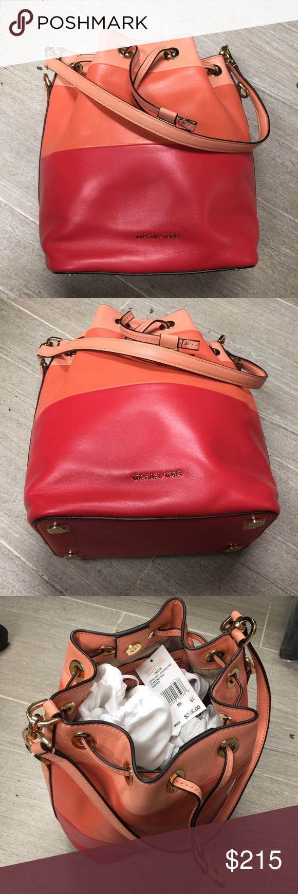 Michael Kors Dottie large bucket bag New with tag  Persimmon pink grapefruit peac Bags Shoulder Bags