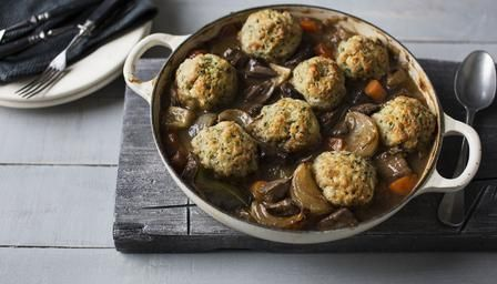 Beef and ale stew with dumplings, Tom Kerridge (Carby?? Use only 750ml broth, use only 2 apples. OK to sub GF bread crumbs, 1Tbsp dried parsley, and melted coconut oil instead of suet.)