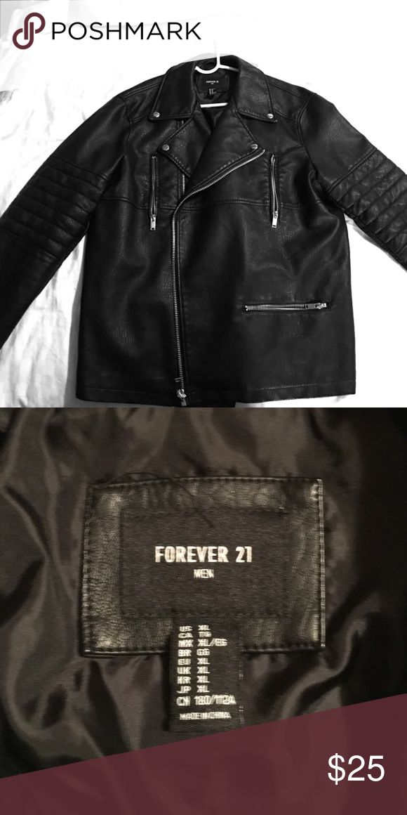 Black leather jacket XL forever 21 men Never worn. Working zippers & pockets 21men Jackets & Coats