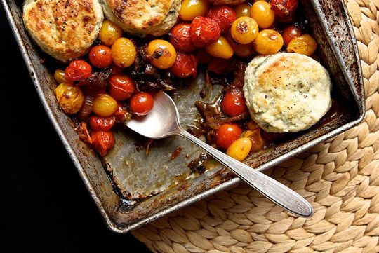Tomato cobbler with bleu cheese biscuits (I'd cut the bleu cheese and ...